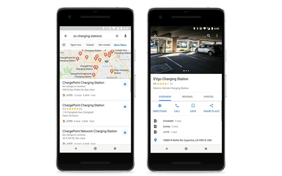 Google Maps adds EV charging station info