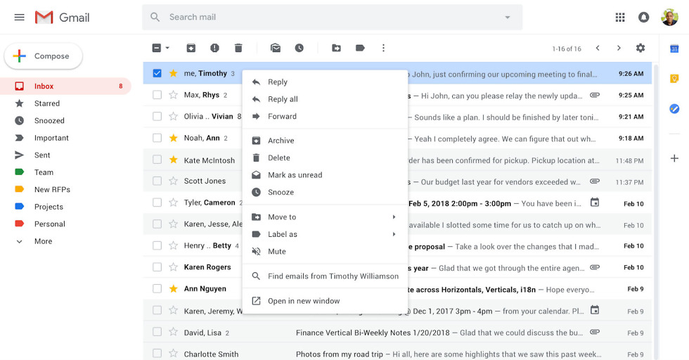 Gmail's new right-click menu offers easy access to common functions