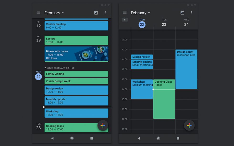 Google Calendar and Google Keep updated with dark mode on Android