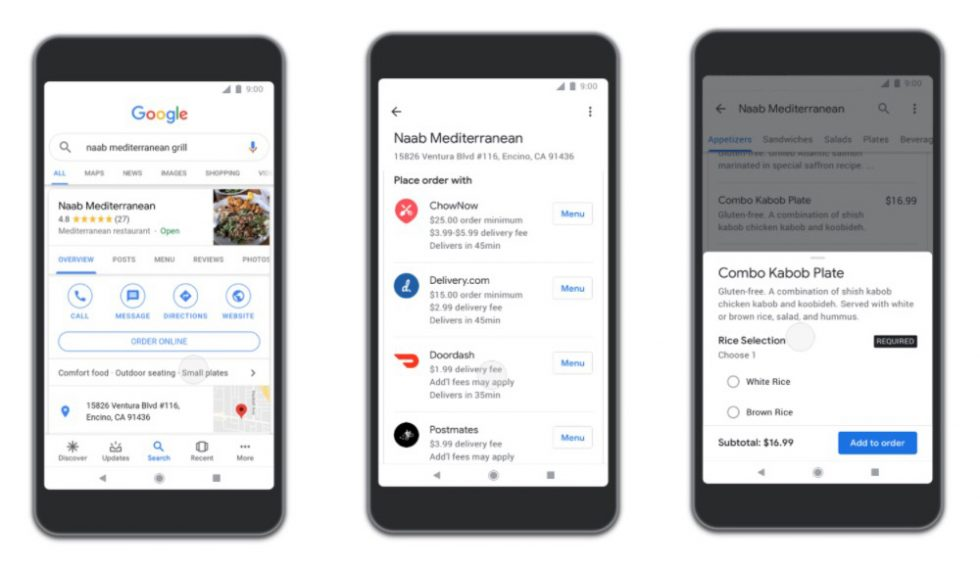 Google users can now order food via Search, Maps