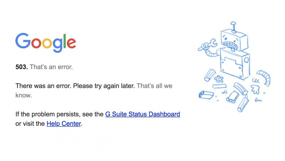 Google Calendar is down, you might want to reschedule today