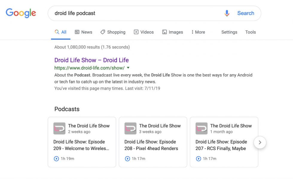 Google now lets you find, listen to podcasts in search results